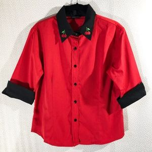 Unique Vintage Red Cherries Collared Button Up Top